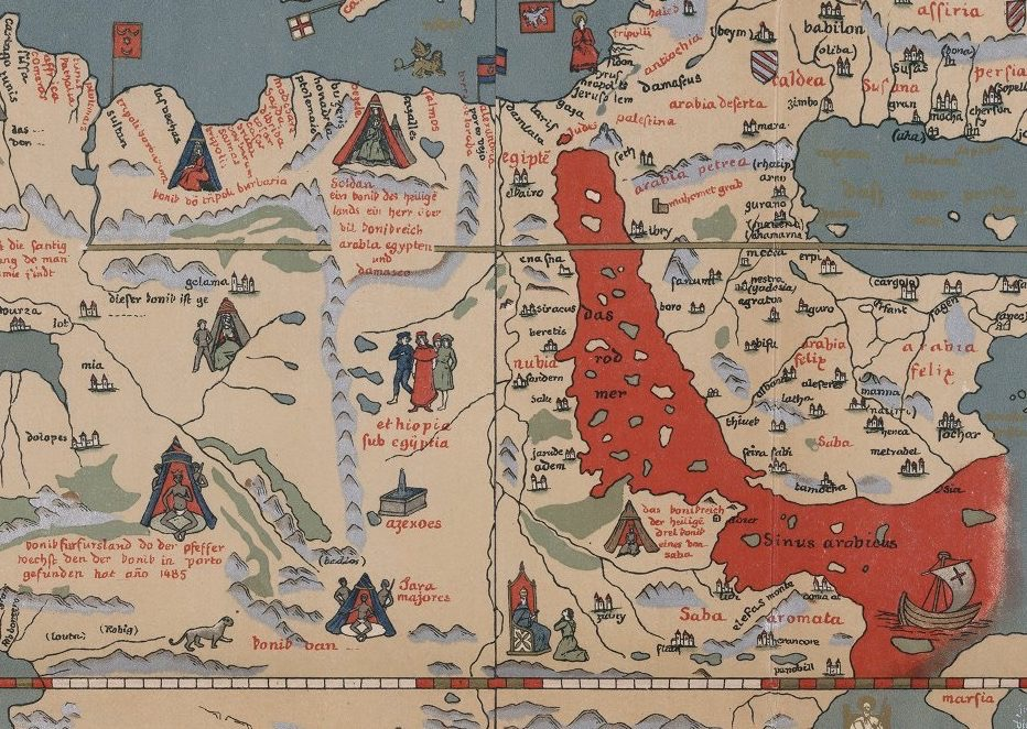 Detail of Martin Behaim's Globe from 1492, in a facsimile produced in 1908 by the geographer Ernst Georg Ravenstein